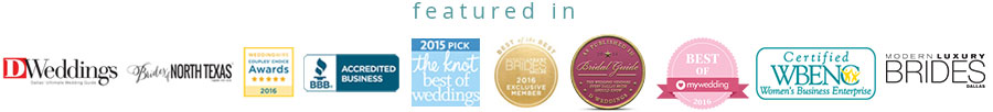 Our Accreditations from the BBB, WeddingWire, Modern Luxury Brides, Bridal Guide, WBENC, The Knot, and MyWedding